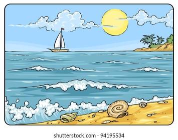Sea Landscape - Cartoon Illustration Background