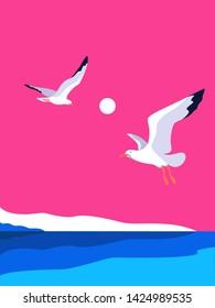 Sea landscape with gulls. Sea coast, noon, sky, sun, flaying seagulls. Vector illustration