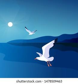 Sea landscape with gulls. Sea coast, sky, sun, flaying seagulls. Vector illustration