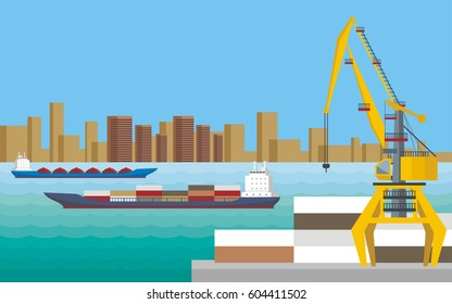 Sea landscape with the image of a dock, ships and seaside industrial city. Vector background.