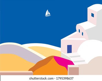 Sea landscape of the island of Santorini or Greece in flat style. White sailboat in blue sea, white houses, pink flowers, blue door. Vector graphics. EPS 10