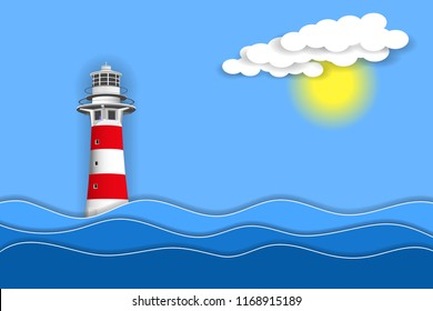 Sea landscape with lighthouse. Paper layers and shapes. Vector EPS10