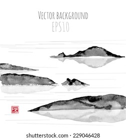 Sea landscape with mountains, hand-drawn with ink in traditional Japanese style sumi-e. Vector illustration.