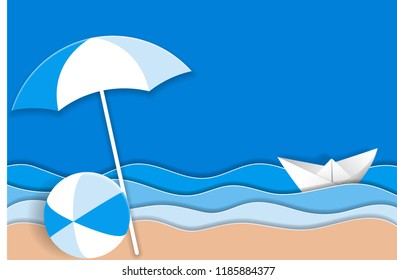 Sea landscape with paper ship in ocean waves, beach umbrella and bright ball on the sandy beach. Vector illustration EPS10