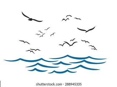 Sea landscape with seagulls.