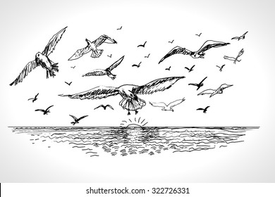 Sea landscape with seagulls. Hand drawn vector llustration realistic sketch