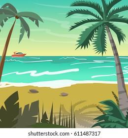Sea landscape summer beach with palms, boat, horizon at sunset. Vector flat illustration
