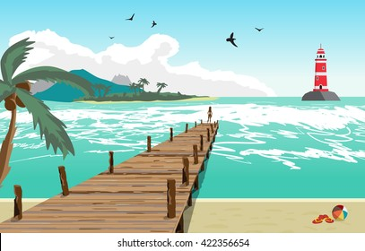 Sea landscape summer beach, silhouette of a woman on old wooden pier, lighthouse on the island in the distance. View with palm trees on a beach, wooden pier. Vector flat illustration