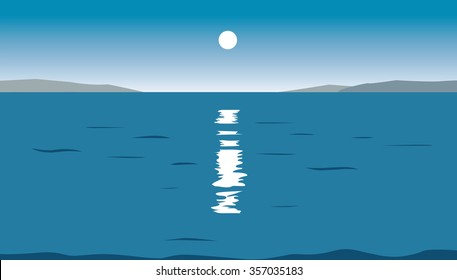 sea landscape with the Sun light and reflection on water