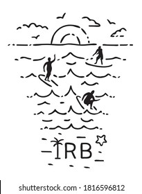 Sea landscape with surfers, seagulls and sun. IRB in minimalistic style. Indian Rock Beach, Florida, USA. Black and white