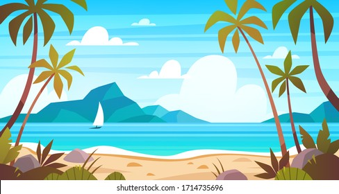 Sea landscape. Tropical beach, ocean seashore. Paradise island panorama with palm tree and sky, exotic resort summer vacation cartoon vector concept