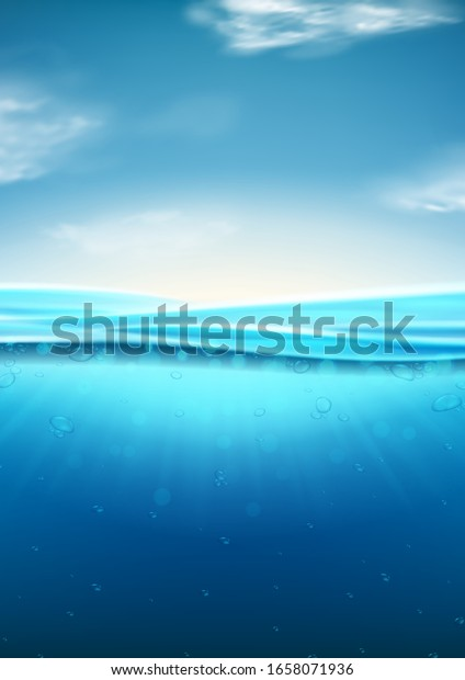 Sea landscape with underwater space. Vector illustration with deep underwater ocean scene. Background with realistic clouds and wavy water surface.
