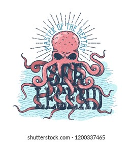 Sea legend octopus master of the depths lettering. Vintage color illustration in engraving style.