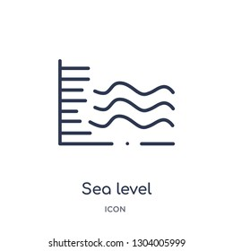 sea level icon from weather outline collection. Thin line sea level icon isolated on white background.