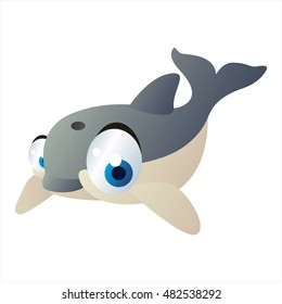 Sea life animals. Cool vector cute funny image of Dolphin