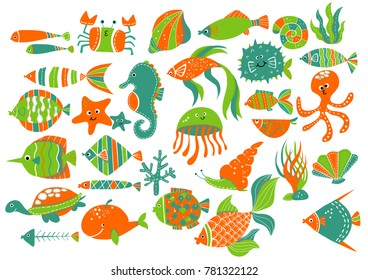 Sea Life Animals Icons
