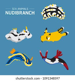 Sea life animals Nudibranch set vector