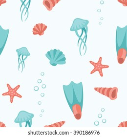 Sea life, animals, objects and symbols flat style pattern texture. Hand drawn cartoon vector illustration and icon set on white background.