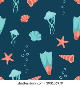 Sea life, animals, objects and symbols flat style pattern texture. Hand drawn cartoon vector illustration and icon set on dark background.