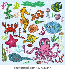 Sea life animals set: fish,  octopus, crab, seahorse with coral,seaweed,shell. Funny cartoon doodle underwater world. Baby hand drawing Vector . Summer travel, tropical composition,background.