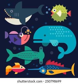 Sea life. Big fish: whale, shark, swordfish, fish. Vector flat illustrations