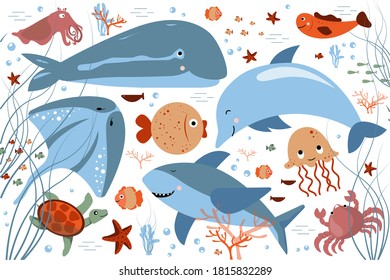 Sea life. Cartoon cute different fish, algae, corals, starfish on white background. Baby wallpaper, children's party background. Whale, dolphin, shark, turtle, crab, stingray