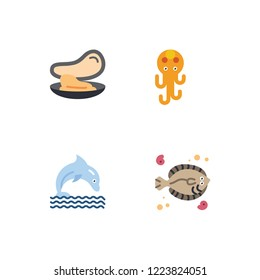 Sea life detailed rounded color flat icon set EPS 10 vector format. Transparent background.