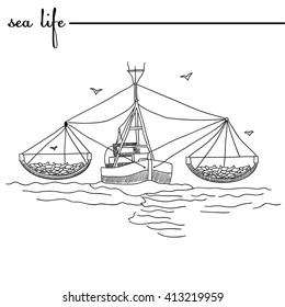 Sea life.  The fish. Original doodle hand drawn illustration. Outlines
