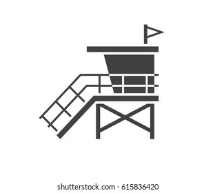 Sea life guard tower icon. Beach lifeguard house logo or label template. Baywatch hut vector illustration in outline design.
