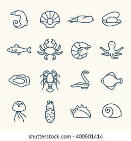 Sea life line icons
