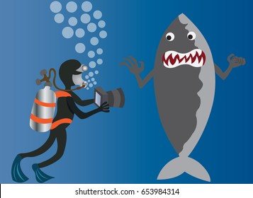 Sea life Nature Photographer A deep sea diver taking photo of a Shark