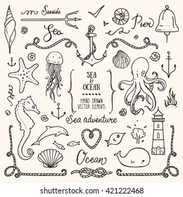 Sea life, ocean trip, summer marine cruise, seafood, pier restaurant design elements. Collection of hand drawn illustration: lighthouse, octopus, anchor, jellyfish, cordage frame. Isolated vector set.