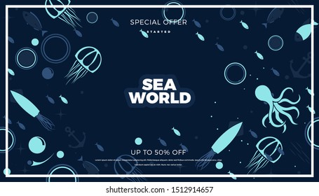 Sea life panoramic background with fish, anchor, octopus, squid, medusa and bubbles in the ocean. Water world vector illustration template for your design or wallpaper.