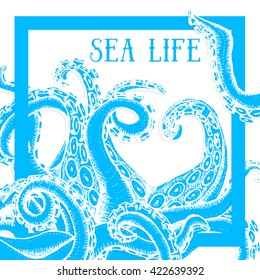 Sea life poster with octopus, vector