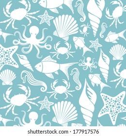 sea life seamless pattern (ocean animals background)