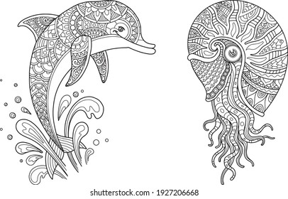sea life set coloring page mandala design. print and t-shirt design