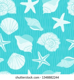 sea life sea shells seamless pattern. under the sea