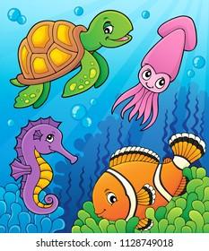 Sea life theme image 3 - eps10 vector illustration.