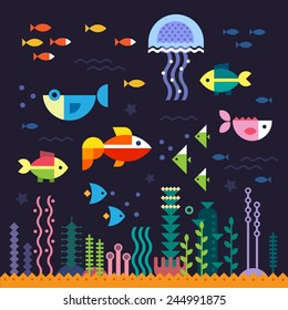 Sea life. Underwater world. Fish, jellyfish, sea bottom, algae, treasure. Vector flat illustrations  and icon set