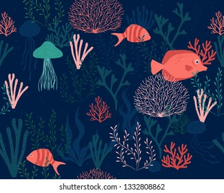 Sea life vector  background - seamless pattern included