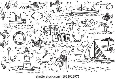 Sea life vector hand drawn doodles