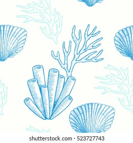 Sea life. Vector hand drawn graphic illustration. Marine seamless pattern