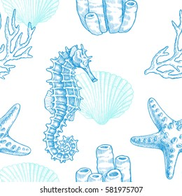 Sea life. Vector hand drawn vintage illustration of seahorse, starfish, coral sprigs and seashell. Marine seamless pattern