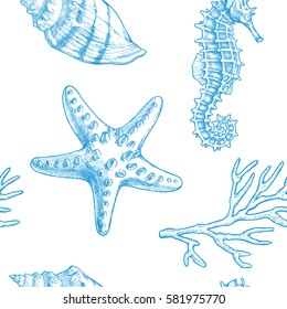Sea life. Vector hand drawn vintage illustration of seahorse, starfish, shell and sprigs of coral. Marine seamless pattern