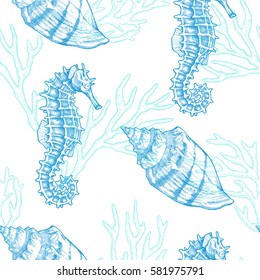 Sea life. Vector hand drawn vintage illustration of seahorse, shell and sprigs of coral. Marine seamless texture.