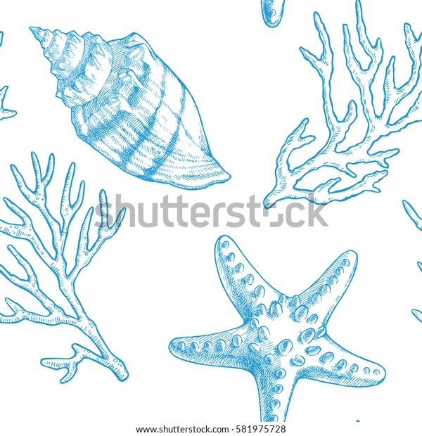 Sea life. Vector hand drawn vintage illustration of starfish, seashell and sprigs of coral. Marine seamless pattern