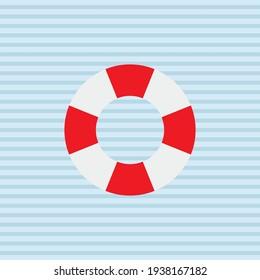 Sea Lifebuoy Circle Icon. Flat Design Vector Illustration. Marine Travel Lifestyle Symbol