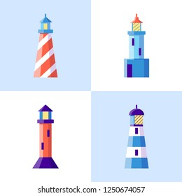 Sea lighthouse icons set in flat style