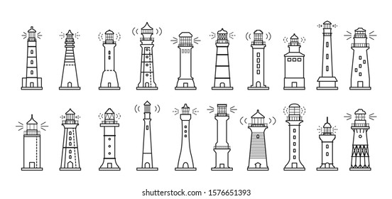 Sea lighthouse line vector set icon.Vector illustration ocean beacon on white background .Isolated line icon light of sea lighthouse.