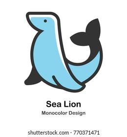 Sea Lion Mono-color vector illustration